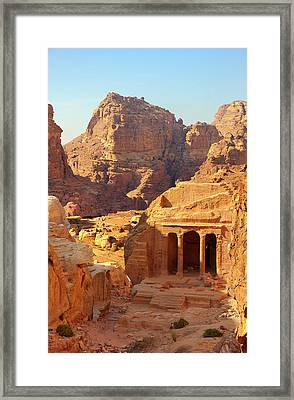 Petra Buildings, Pond And Gardens Complex Framed Print by Nicola Nobile