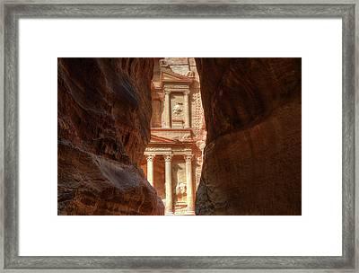 Petra Treasury Revealed Framed Print by Nigel Fletcher-Jones
