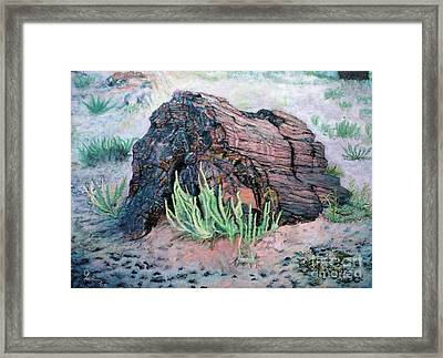 Framed Print featuring the painting Petrified Log In Arizona by Cindy Lee Longhini