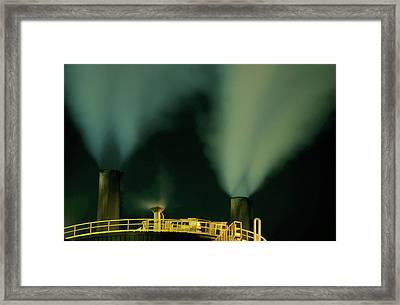 Petroleum Refinery Chimneys At Night Framed Print by Sami Sarkis