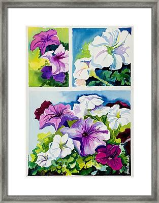Petunias In Summer Framed Print by Janis Grau