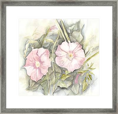 Framed Print featuring the painting Petunias by Jackie Mueller-Jones