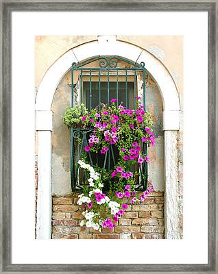 Framed Print featuring the photograph Petunias Through Wrought Iron by Donna Corless