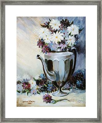 Pewter Coffee Pot And Daisies Framed Print by JoAnne Corpany