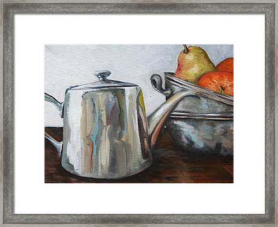 Pewter Teapot And Bowls Framed Print by Amy Higgins