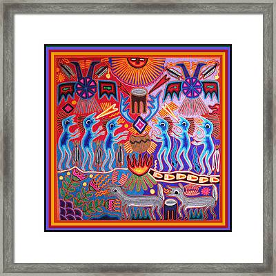 Peyote Shaman Hunting Ritual Framed Print by Vagabond Folk Art - Virginia Vivier