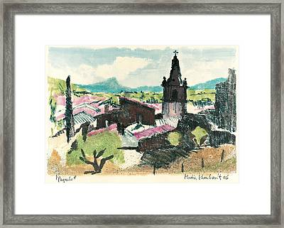 Framed Print featuring the painting Peyruis Village In Provence by Martin Stankewitz