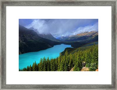 Peyto Lake Rainbow Below Banff National Park Framed Print by Wayne Moran