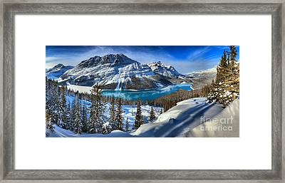 Peyto Lake Winter Panorama Framed Print