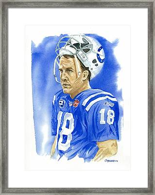 Peyton Manning - Heart Of The Champion Framed Print by George  Brooks