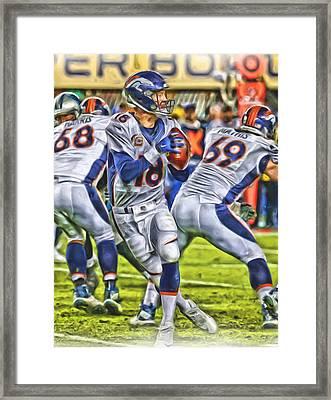 Peyton Manning Broncos Oil Art Framed Print