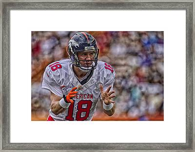 Peyton Manning Calls Out The Platy Framed Print by Mountain Dreams