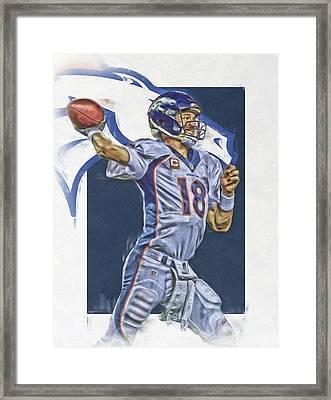 Peyton Manning Denver Broncos Oil Art Framed Print
