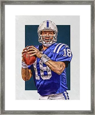 Peyton Manning Indianapolis Colts Art Framed Print by Joe Hamilton