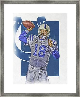 Peyton Manning Indianapolis Colts Oil Art Framed Print