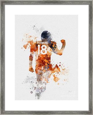 Peyton Manning Framed Print by Rebecca Jenkins