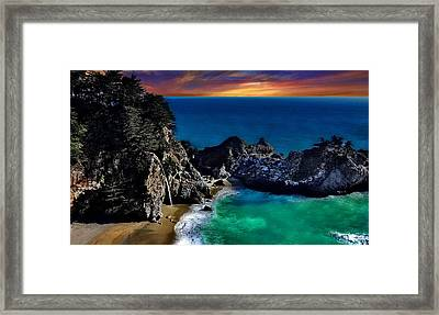 Pfeiffer Mcway Falls At Sunset Framed Print by Russ Harris