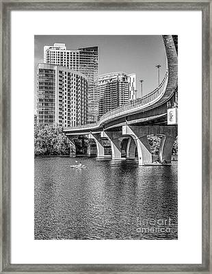 Pfluger Bridge In Black And White Framed Print by Tod and Cynthia Grubbs