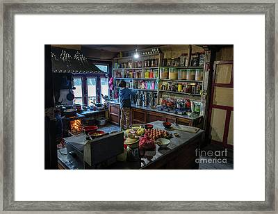 Framed Print featuring the photograph Phakding Teahouse Kitchen Morning by Mike Reid