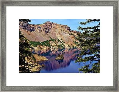 Phantom Ship In Crater Lake Framed Print by Michael Courtney