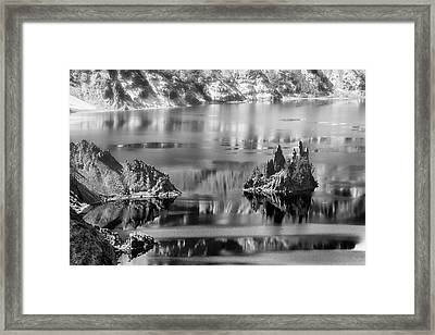 Phantom Ship Island In Mist Crater Lake  B W Framed Print by Frank Wilson