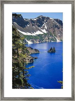 Phantom Ship On Crater Lake Framed Print