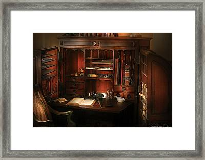 Pharmacist - The Pharmacists Desk Framed Print by Mike Savad