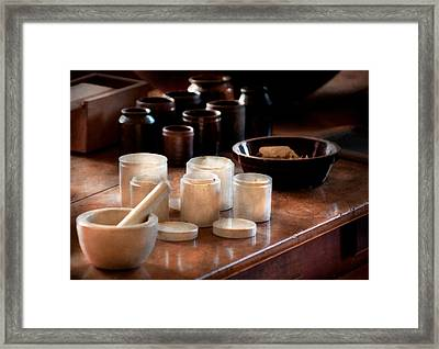 Pharmacist - Pestle And Cups Framed Print by Mike Savad