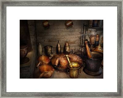 Pharmacy - Alchemist's Kitchen Framed Print by Mike Savad