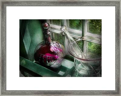 Pharmacy - The Apothecary Is Open  Framed Print