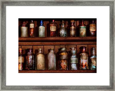 Pharmacy - Caution Don't Mix Together Framed Print