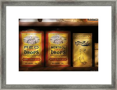 Pharmacy - Cough Drops Framed Print by Mike Savad