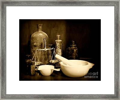 Pharmacy - Mortar And Pestle - Black And White Framed Print by Paul Ward