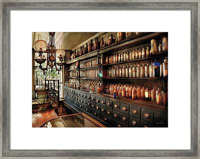 Pharmacy - So Many Drawers And Bottles Framed Print by Mike Savad