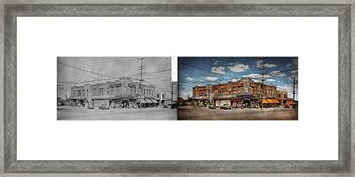 Framed Print featuring the photograph Pharmacy - The Corner Drugstore 1910 - Side By Side by Mike Savad