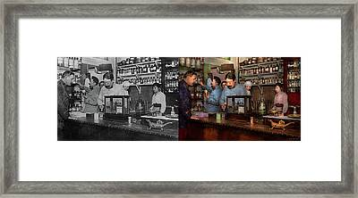 Framed Print featuring the photograph Pharmacy - The Dispensing Chemist 1918 - Side By Side by Mike Savad