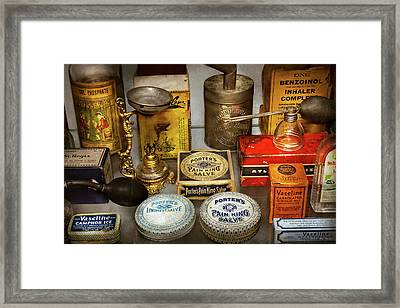 Framed Print featuring the photograph Pharmacy - The Pain King by Mike Savad
