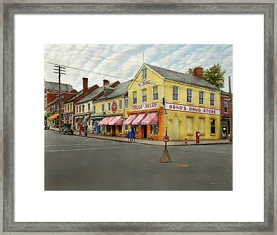 Pharmacy - Wl Bond Drugs And Seeds 1927 Framed Print by Mike Savad