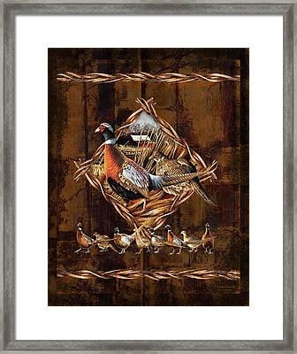 Pheasant Lodge Framed Print by JQ Licensing