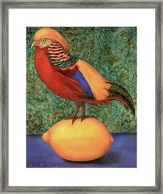 Pheasant On A Lemon Framed Print by Leah Saulnier The Painting Maniac