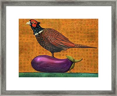Pheasant On An Eggplant Framed Print by Leah Saulnier The Painting Maniac