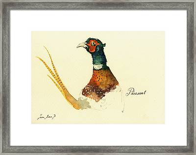 Pheasant Painting Framed Print by Juan  Bosco