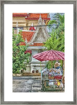 Phetchaburi Street Vendor Painting Framed Print by Antony McAulay