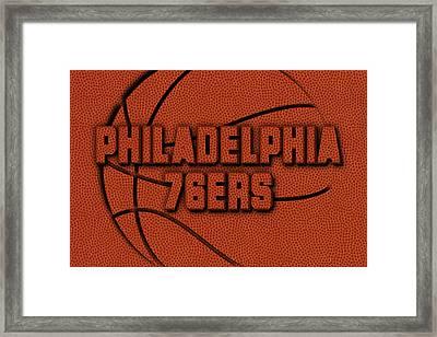Philadelphia 76ers Leather Art Framed Print by Joe Hamilton