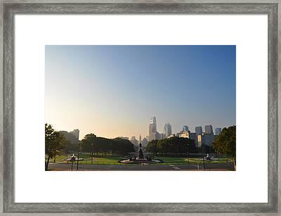 Philadelphia Across Eakins Oval Framed Print by Bill Cannon