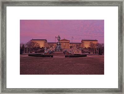 Philadelphia Art Museum At Dusk Framed Print by Kenneth Garrett