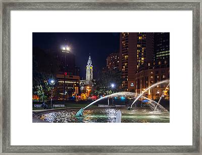 Philadelphia At Night - Swann Fountain And City Hall Framed Print by Bill Cannon