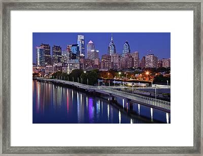 Philadelphia Blue Hour Framed Print by Frozen in Time Fine Art Photography
