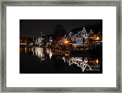 Philadelphia Boathouse Row At Night Framed Print