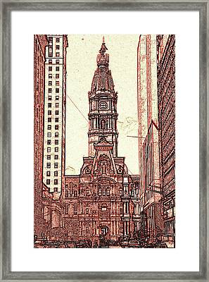 Philadelphia City Hall - Pencil Framed Print by Art America Gallery Peter Potter